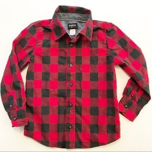 Oshkosh Boy's Buffalo Plaid Button Down Shirt